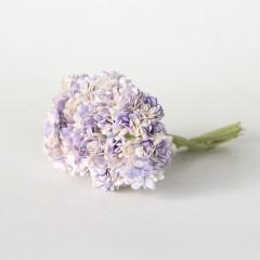 Цветы бумажные мальбери ГИПСОФИЛЫ БЕЛО-СИРЕНЕВЫЕ 1см 10шт
