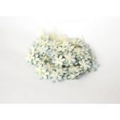 Цветы бумажные мальбери МАЛЕНЬКИЕ БЕЛО-ГОЛУБЫЕ 2см 10шт