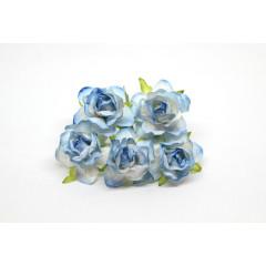 Цветы бумажные мальбери РОЗЫ ЧАЙНЫЕ БЕЛО-ГОЛУБЫЕ 4см 5шт
