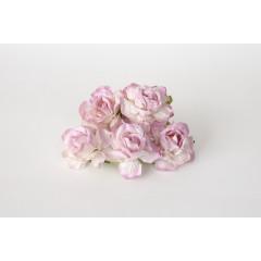 Цветы бумажные мальбери РОЗЫ ЧАЙНЫЕ БЕЛО-СВЕТЛО-СИРЕНЕВЫЕ 4см 5шт