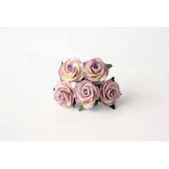 Цветы бумажные мальбери РОЗЫ МОЛОЧНО-СВЕТЛО-СИРЕНЕВЫЕ 2,5см 5шт