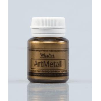 Акриловая краска металлик WizzArt ARTMETALL 20мл ЗОЛОТО КОРИЧНЕВОЕ СВЕТЛОЕ